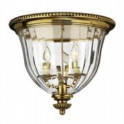 Cambridge 3 Light Flush Fitting in Solid Burnished Brass with Clear Optic Glass - HINKLEY HK/CAMBRIDGE/F/B